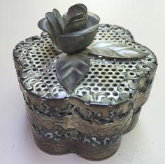 ON SALE Trinket Jewelry Box Handmade Metal Pierced Scalloped with Flower Dresser Box Desk Box Potpourri Holder Vi