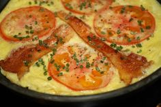 Danish Omelet from Food.com:   								This was a regular Sat night dinner served with good crusty bread. It has a heavier texture than a French omelet, more like a frittata. Good for lunch or Brunch   I often use  slivered ham steak  on top instead of the bacon or the streaky pork - just a bit less fat