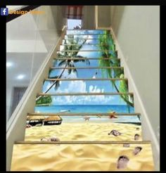 Details about Beach View 851 Stair Risers Decoration Photo Mural Vinyl Decal Wallpaper AU - Vinyl Wallpaper, Home Wallpaper, Wallpaper Ideas, Wallpaper Staircase, Small Space Interior Design, Interior Design Living Room, Escalier Art, Beach Stairs, Stairway Art