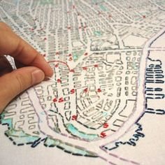 embroider your city  (this map project is amazing) [The Urban Fabric / El Tejido Urbano project] // Check out the pictures of it all over the world!