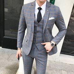 Classic Plaid Men's Suit England Style Dress Slim Fit Wedding Suits For Men 2019 New Spring Autumn Formal Casual Tuxedo Suit Man - Mujaah Top Fashion, Plaid Fashion, Mens Fashion Suits, Mens Suits, Suit Men, Cheap Fashion, Mens Casual Suits, Trendy Fashion, Latest Fashion