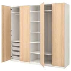 Check out ELVARLI 3 sections, white. ELVARLI storage system adapts to your space. The open solution with durable bamboo shelves creates an attractive display of your belongings. Plastic Shelves, Plastic Drawers, At Home Furniture Store, Modern Home Furniture, Bedroom Furniture, Dressing Pax, Pax Corner Wardrobe, Wardrobe Storage, Sliding Wardrobe