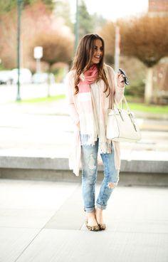 blankNYC jeans pink sweater striped scarf