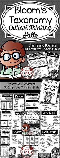 Blooms Taxonomy | Critical Thinking | Blooms Posters  Blooms Taxonomy Critical Thinking Posters for Class Display or Students Notebooks. Improve Thinking Skills using this great  Bloom's Taxonomy Chart and Posters!!!