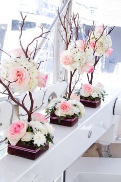 Pink & White Floral Centerpieces: could be done white and re.- Pink & White Floral Centerpieces: could be done white and red Pink & White Floral Centerpieces: could be done white and red - White Floral Centerpieces, Flower Centerpieces, Flower Decorations, Floral Arrangements, Manzanita Tree Centerpieces, Table Arrangements, Wedding Table Decorations, Party Centerpieces, Decor Wedding