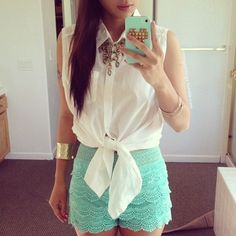 Top and Mint Crochet Shorts