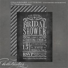 Chalkboard Bridal Shower Invitation  DIY print by belletristics, $18.00