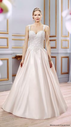 Moonlight Collection Spring 2016 Wedding Dresses | Wedding Inspirasi | Very Pretty Sleeveless, Blush Wedding Gown, With Sweetheart Neckline, Embroidered Lace Bodice, Embellished Lace Shoulder Straps, Full Satin Ball Gown Skirt Showcasing Box Pleating & A Lovely Chapel+ Length Train^^^^