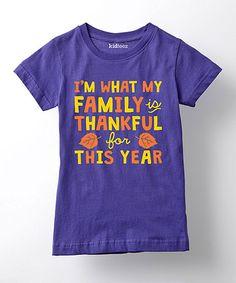 Purple 'Thankful For' Tee - Girls #zulily #zulilyfinds