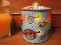 Vintage Unique Blue Tin Made In England by apotofbasil on Etsy