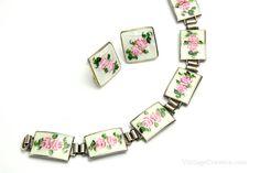 Sterling Silver Guilloche Enamel Bracelet & Earrings by VintageCravens