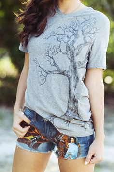 Vintage Tee with Hand-Drawn Tree. $30.00, via Etsy.  I'm honored to call the artist behind this design my own friend :)