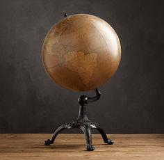 HOME DECOR – ART – GLOBE – Antique English Library Globe