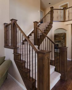 Beautiful staircase rails. Can I replace mine with this?? Wooden Staircase Railing, Indoor Stair Railing, Wooden Stairs, Banisters, Stair Case Railing Ideas, Stair Newel Post, Newel Posts, Stair Posts, Stair Makeover