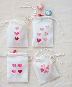 Use carrots and paint to make these heart stamped bags.