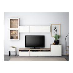 BESTÅ TV-løsning/vitrinedører - valnøttmønstret lys grå/Selsviken høyglanset/hvit klart glass, skuffeskinne, trykk-åpen-beslag - IKEA