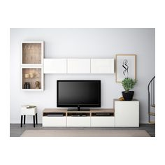 BESTÅ TV storage combination/glass doors - walnut effect light gray/Selsviken high gloss/white clear glass, drawer runner, soft-closing - $699