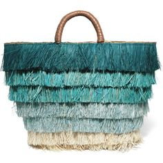 Kayu Pinata leather-trimmed fringed straw tote (495 BRL) ❤ liked on Polyvore featuring bags, handbags, tote bags, purses, borse, kayu, blue, straw tote, straw handbags and hand bags