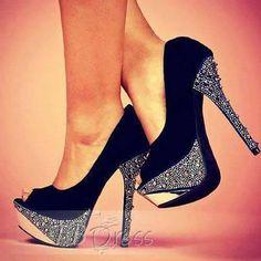 Peep Toe Stiletto Heel Slip-On Plain Rhinestone Womens Pumps