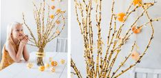 Lovely yellow Easter willow branches to magazine Kodin Kuvalehti Easter Crafts To Make, Diy Crafts, Willow Branches, Cool Diy, Activities, Halloween, Teet, Craft Ideas, Magazine