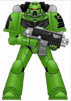 Subjugators Tactical Marine. The Subjugators' Power Armour is painted a medium green, including the trim.   Chapter Badge  The Subjugators' Chapter badge is a black clenched fist (similar to that of the Imperial Fists) on a medium green background.