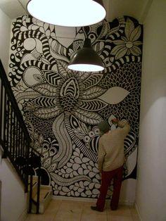 ©MarianoPadilla - Mural - Wall Painting - Uni Posca on 19m² wall - Hostel One Barcelona