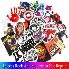 Mixed Rock Stickers Movie Graffiti Hero Sticker For DIY Skateboard Luggage Laptop Motorcycle Phone Waterproof Sticker. Features: No-duplicate Waterproof Sun-protection Leave. Star Wars Stickers, Anime Stickers, Kids Stickers, Waterproof Phone, Waterproof Stickers, Anime Motorcycle, Motorcycle Decals, Adventure Time Funny, Graffiti