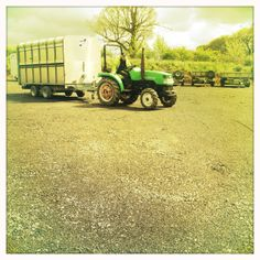 Ifor Williams Livestock Trailer Being Towed By The Universal Trailer Tractor