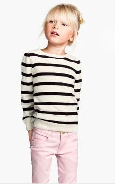 black and white striped sweater, pink jean (and those bangs!) | h&m