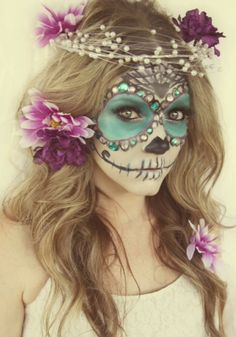 Skeleton bride make up.