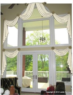 View our collection of designer window treatments and custom window coverings for your home. - Check Out THE PIC for Various Ideas for Simple Window Treatments. Curtains For Arched Windows, Tall Windows, Window Drapes, House Windows, Drapes Curtains, Arched Window Coverings, Valances, Cabin Curtains, Drapery