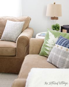 TJ Maxx Throw Pillows | Neutral Sofa | Gray Walls | Rustic Contemporary Traditional Living Room