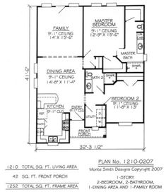 2 Bedroom 1 Bathroom House Plans
