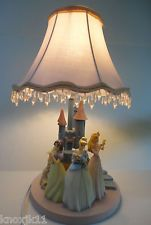 "Disney Princess Sleeping Beauty Snow White Cinderella Castle Lamp Light 17"" EUC!"