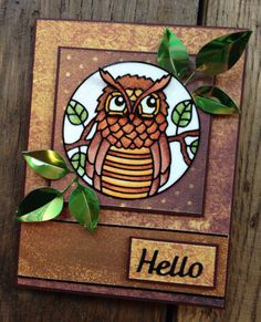 For this card we used our NEW Owl Circles Peel-Off sticker in black # 2560. Coloring is on top of the Silk Microfine Glitter Warm Diamond # 639. The leafs our cut out of Green Metallic Shimmer Sheetz with our Big Triple Leaf die # 796.