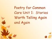 Poetry for Third Grade Common Core Unit 1