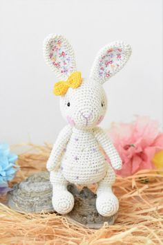 Candy bunny will delight kids with her sweet look and yummy candy like dots covering her body. You will only need single crochet for making the pieces, but be prepared for experienced sewing techniques and some basic knowledge of stitching. The toy doesn`t stand on it`s own.