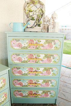 """wall paper mod podge on a dresser"" #decoupage #modpodge #craft #crafts"