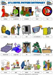 at a hotel vocabulary pictionary poster worksheet icon
