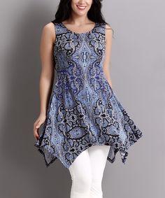 Look at this #zulilyfind! Blue Paisley Handkerchief Tunic - Plus by Reborn Collection #zulilyfinds