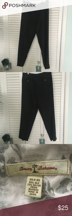 Men's Tommy Bahama Pants Men's Tommy Bahama Silk / Rayon Pants.  Color Black.  Size 35/30. Very good condition. Tommy Bahama Pants Chinos & Khakis