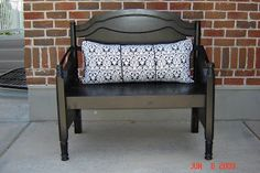 I love this bench!! I love the damask print with the coordinating black cording and soft microsuede ties. The bench is perfect for an entryway or anywhere in a house. It would be super cute on a porch. The bench is approximately 3 feet long and about the same heighth. Perfect to sit on and take off your shoes in an entryway ,anywhere in the house or even on the front porch.