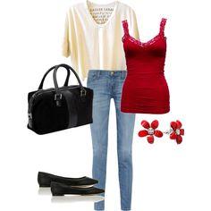Jeans, flowy cream shirt, red tank, black flats, red jewel