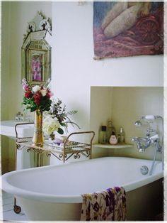Love the idea of a bar cart in the bathroom!