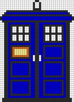 TARDIS Perler Bead Pattern / Bead Sprite. I'm not a fan of Dr.Who but I'd love to make this for my friend who is!