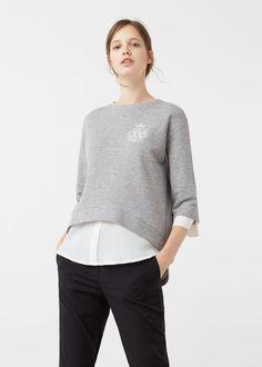 Kombiniertes baumwoll-sweatshirt - Sweatshirts für Damen | MANGO Österreich