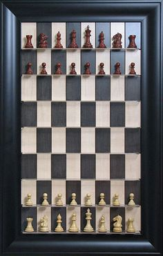 Vertical Chess Set.  I want one on my wall to play with!