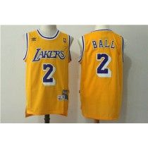 Men s Los Angeles Lakers Lonzo Ball Gold  Purple  White Classic Swingman  Jersey 272305cfd