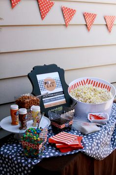 Popcorn Bar at a {She's Ready to Pop} baby shower
