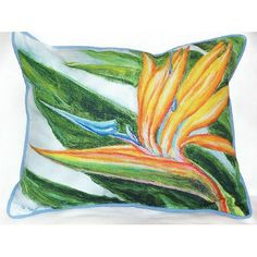 """Bright watercolor rendition of a bird of paradise, is a miniature work of coastal art on a white 16""""x20""""durable, fade resistant fabric beach cottage pillow! Perfect for decorating on board your boat, your seaside deck chair or adorning your coastal room!"""